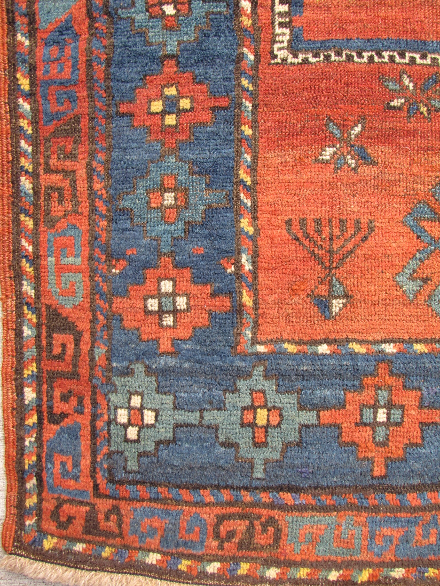 antique caucasian kazak rug - 4'2 x 7'3